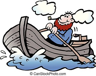 Cartoon Vector illustration of a fisherman in his rowboat