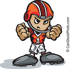 Cartoon Vector Illustration of a Football Kid with Hands in Fists