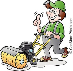 Cartoon Vector illustration of a Happy Gardener with his Sweeping Machine