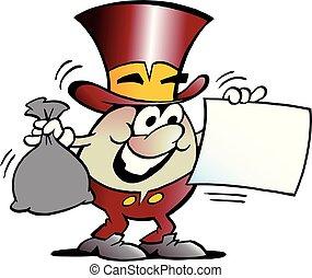 Cartoon Vector illustration of a Happy Golden Egg Mascot looking at a Financial Contract