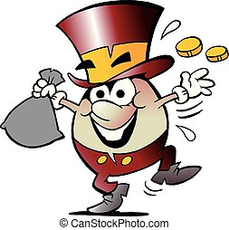 Cartoon Vector illustration of a Happy Golden Egg Mascot with lots of Money
