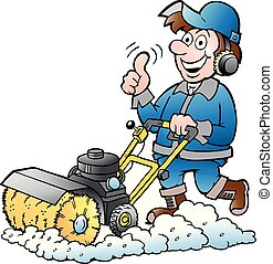 Cartoon Vector illustration of a Happy Handyman Worker with his Sweeping Machine