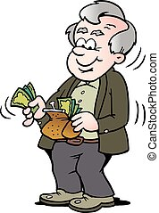 Cartoon Vector illustration of a happy old man taking money out of his wallet