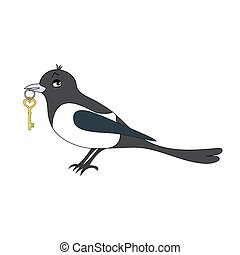 magpie - Cartoon vector Illustration of a magpie with key