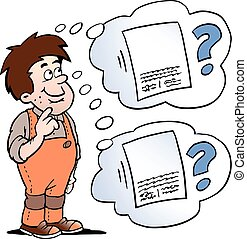 Cartoon Vector illustration of a man who think of the agreement, he must choose