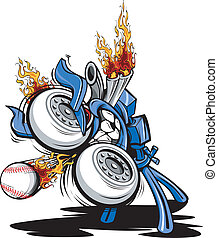 Cartoon Vector Illustration of a Monster Baseball Pitching Machine with a huge engine and flaming exhaust pipes
