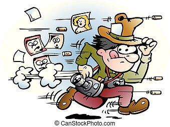 Cartoon Vector illustration of a paparazzi photographer who ...