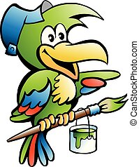 Cartoon Vector illustration of a Parrot Painter Handyman Worker