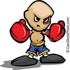 Cartoon Vector Illustration of a Tough Kid with Boxing Gloves and Black Eye