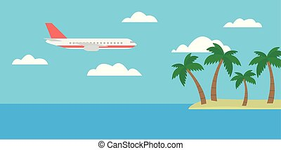 Cartoon vector illustration of a tropical island with palm trees and a large plane flying between clouds on a blue sky