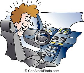 Cartoon Vector illustration of a young man there looking looking at equipment in the new auto ca