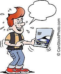 Cartoon Vector illustration of a young man there looking at a new sports car brochure folder