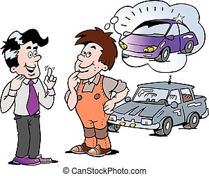 Cartoon Vector illustration of a young man there think to buy a new auto car