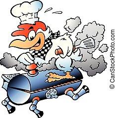 Cartoon Vector illustration of an Chef Chicken riding a BBQ grill barrel