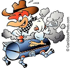 Cartoon Vector illustration of an Chicken riding a BBQ grill barrel