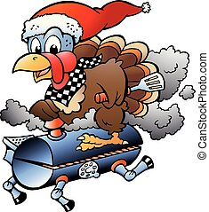 Cartoon Vector illustration of an Christmas Thanksgiving Turkey riding a BBQ grill barrel