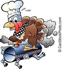 Cartoon Vector illustration of an Thanksgiving Turkey Chef riding a BBQ grill barrel