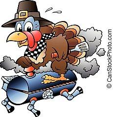 Cartoon Vector illustration of an Thanksgiving Turkey riding a BBQ grill barrel