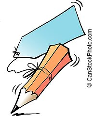 Cartoon Vector illustration of an writing pencil and a ...