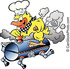 Cartoon Vector illustration of an Yellow Chicken riding a BBQ grill barrel