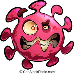 Cartoon vector illustration of angry and scary virus mascot ...