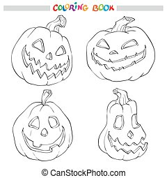 Cartoon Vector Illustration of Black and White Halloween pumpkins. Set for Coloring Book