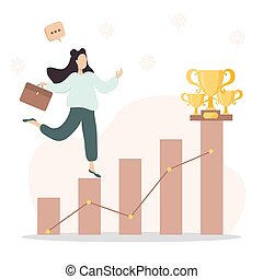 Cartoon vector illustration of business and education concept. Business woman climbing the career ladder.