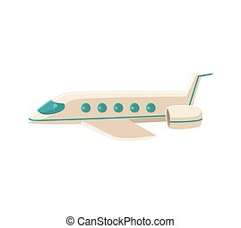 Cartoon vector illustration of commercial airplane