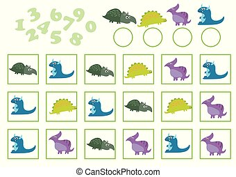 Vector Illustration of Education Counting Game with cartoon dinosaur