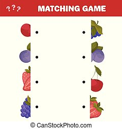 Cartoon Vector Illustration of Education Halves Matching Game for Children