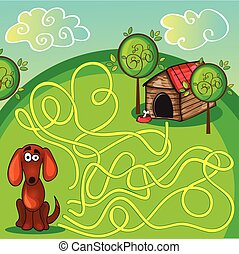 Cartoon Vector Illustration of Education Maze