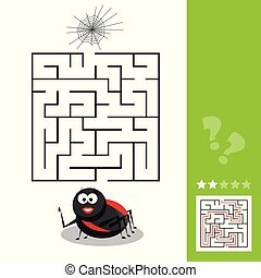 Cartoon Vector Illustration of Education Maze or Labyrinth Activity Game