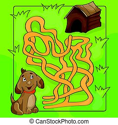 Cartoon Vector Illustration of Education Maze or Labyrinth Game for Children