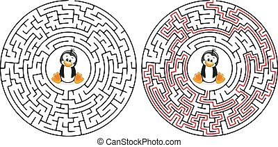 Cartoon Vector Illustration of Education Maze or Labyrinth Game for Preschool Children with Funny Penguin