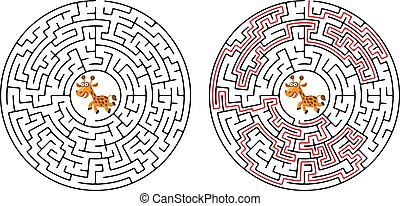 Cartoon Vector Illustration of Education Maze or Labyrinth Game for Preschool Children with Funny Giraffe and Palm Tree