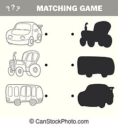 Cartoon Vector Illustration of Education. Shadow Matching Game for Children