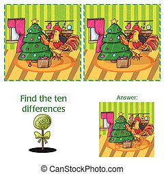 Cartoon Vector Illustration of Finding Differences for Preschool Children