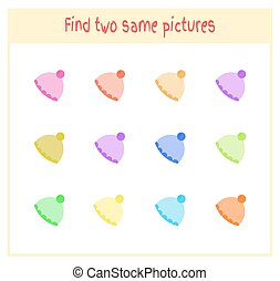 Cartoon Vector Illustration of Finding Two Exactly the Same Pictures Educational Activity for Preschool Children with hat