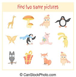 Cartoon Vector Illustration of Finding Two Exactly the Same Pictures Educational Activity for Preschool Children with animals owl, hippo, Fox, giraffe, penguin, butterfly, mushroom, gift