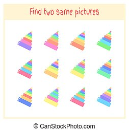 Cartoon Vector Illustration of Finding Two Exactly the Same Pictures Educational Activity for Preschool Children with pyramid