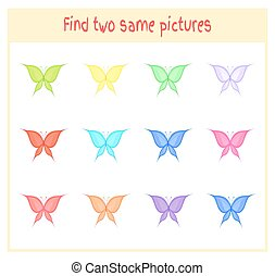 Cartoon Vector Illustration of Finding Two Exactly the Same Pictures Educational Activity for Preschool Children with butterflies