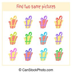 Cartoon Vector Illustration of Finding Two Exactly the Same Pictures Educational Activity for Preschool Children with gift