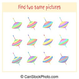 Cartoon Vector Illustration of Finding Two Exactly the Same Pictures Educational Activity for Preschool Children with whirligig