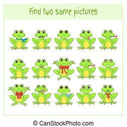 Cartoon Vector Illustration of Finding Two Exactly the Same Pictures Educational Activity for Preschool Children with frogs