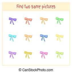 Cartoon Vector Illustration of Finding Two Exactly the Same Pictures Educational Activity for Preschool Children with bows