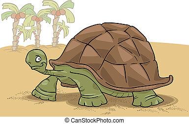 big turtle - cartoon vector illustration of funny big turtle