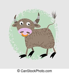 Cartoon Vector Illustration of Funny Bull Farm Animal Character