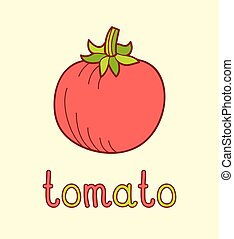 Cartoon vector Illustration of red tomato on yellow background.