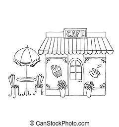Cartoon vector illustration of street cafe. - Cartoon vector...