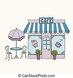 Cartoon vector illustration of street cafe.